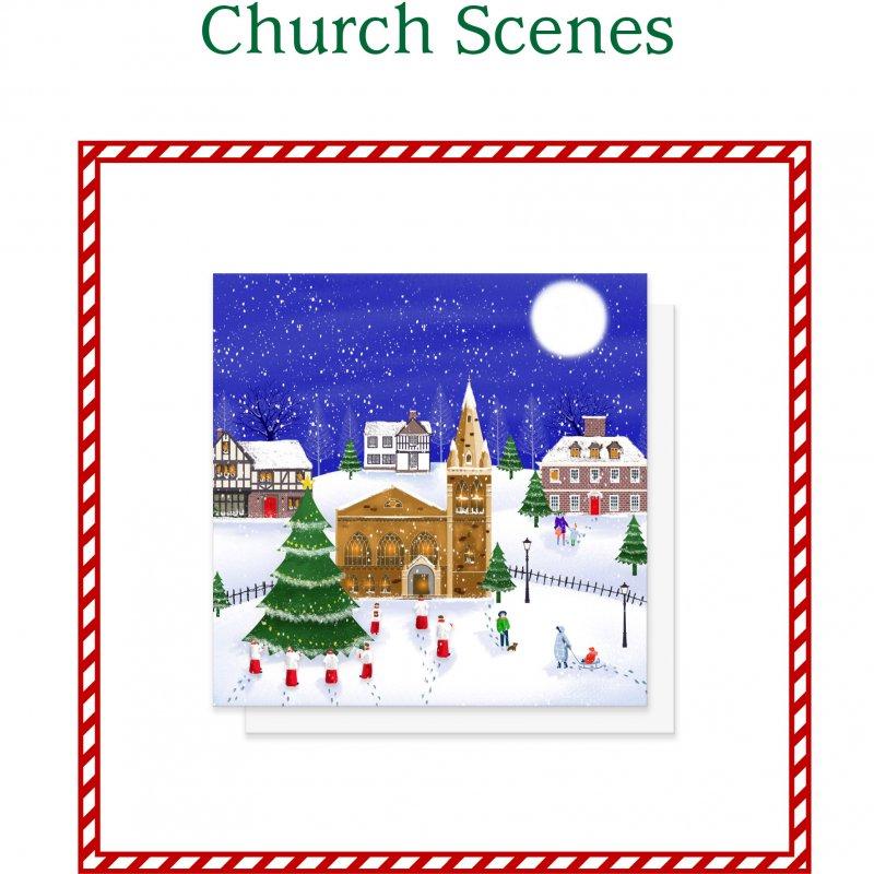 Church Scene Christmas Cards